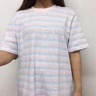Vintage Guess Stripe Tee Pink Blue White T-shirt 古著 復古 短袖 間條