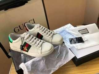 Gucci Shoes Ace Embroidered  Leather Sneaker Brand New Womens and Mens Size Complete Inclusions with Box Free Shipping and Express Shipping Nationwide