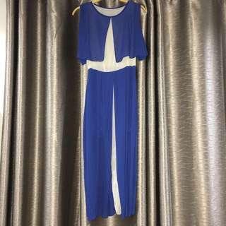 Chiffon long blue dinner dress