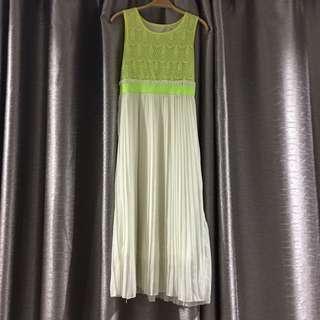 Neon yellow chiffon lace long dress