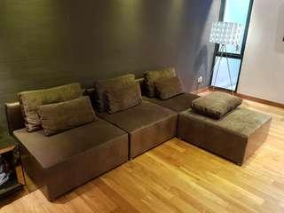 Customised L Shape Sofa - Dark brown color