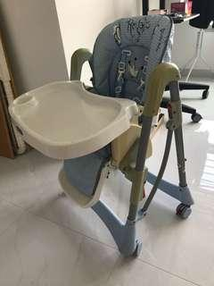 Baby high chair with rollers