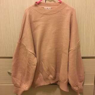 粉嫩可愛澎袖針織毛衣