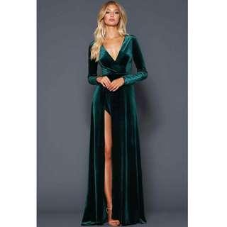 White Runway Green Velvet Gown / Dress