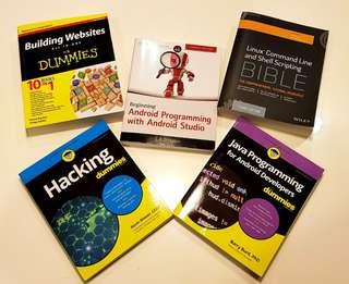 Java programming, Linux, Android, and Hacking books