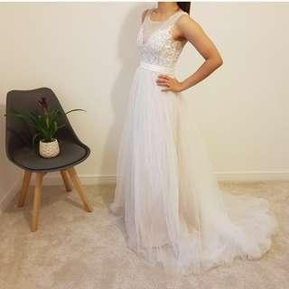 Soft tulle gown with illusion back