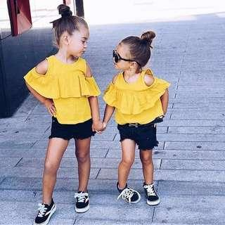 🚚 ✔️STOCK - 2pc RUFFLED MUSTARD YELLOW BLOUSE TOP & BLACK FRINGE SHORTS SET BABY TODDLER GIRLS KIDS CHILDREN CASUAL CLOTHING
