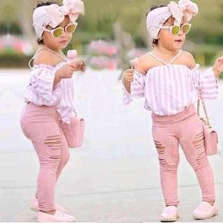 🚚 ✔️STOCK - 3pc PIN STRIPE OFF SHOULDER SLEEVES BLOUSE TOP & RUGGED PINK LEGGING PANTS WITH RIBBON HEADBAND SET BABY TODDLER GIRLS KIDS CHILDREN CASUAL CLOTHING