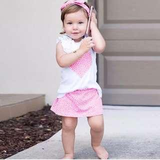 🚚 ✔️STOCK - 2pc PINK LITTLE HEART WHITE RUFFLED BLOUSE TOP & SKIRT SET BABY TODDLER GIRLS KIDS CHILDREN CASUAL CLOTHING