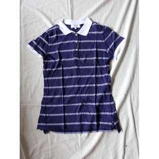 品牌NET藍白橫條條紋線條短袖POLO衫美式休閒服舒適基本款翻領POLO衫純棉POLO衫上衣棉質POLO上衣