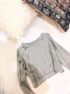 Distressed cropped sweater | small