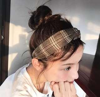 Brown grey checkered headband hairband #mmar18