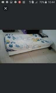 Single bed wt 2 matress with white headboard