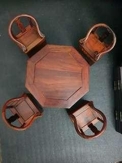 Miniature Furniture Chinese Octagonal tables Set