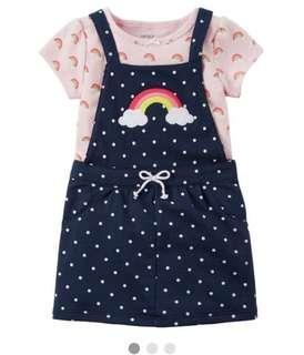 🚚 BN Carters Baby Girl 2 Piece Rainbow Polkadot Jumper with Bodysuit 12mths!