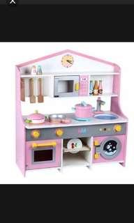 Toy Kitchen Pink White Wood