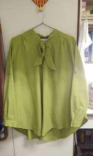 寬鬆 淺 綠 蝴蝶結  綁帶  襯衫 上衣