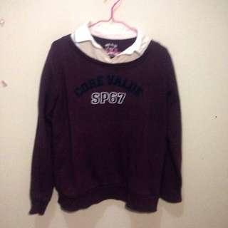 Kemeja sweater maroon