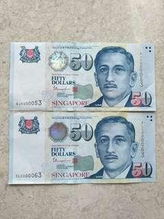 🚚 SINGAPORE $50 PORTRAIT THARMAN LOW S/N 53 & 63 AU