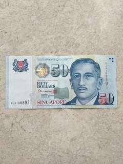 🚚 SINGAPORE $50 PORTRAIT THARMAM RADAR S/N 198891 UNC