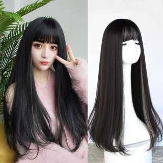 Korean Fashion Long Straight Hair Wig Headgear Ladies Bangs Realistic Scalp Wig Home