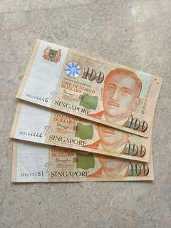 🚚 ALMOST SOLID SERIAL NUMBER SINGAPORE $100 PORTRAIT