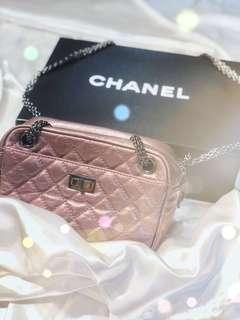 🚚 Rent Chanel Rose Fonce Quilted Calfskin Leather Small Reissue Camera Case Bag