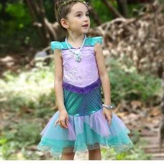 🚚 Instock Ariel Mermaid dress size 110-140 for 4-8'yrs old