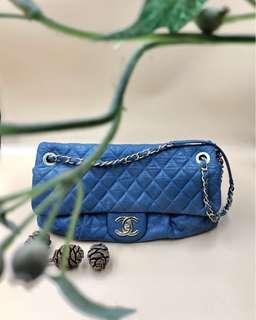 🚚 Rent Chanel Blue Lambskin Flap Bag with Antique Gold Hardware