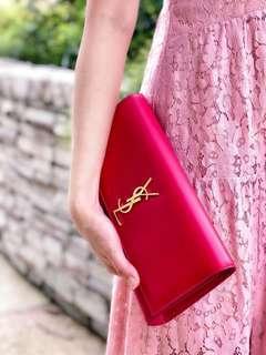 🚚 Rent YSL Fuchsia Kate Clutch Smooth Skin