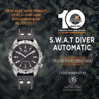 🚚 H3 TACTICAL WATCHES SWISS MADE S.W.A.T DIVER AUTOMATIC 100M  H3.3731.775.1.7 LEATHER BAND