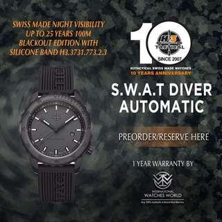 🚚 H3 TACTICAL WATCHES SWISS MADE S.W.A.T DIVER AUTOMATIC 100M  H3.3732.773.2.3 BLACKOUT EDITION BLACK PVD WITH SILICONE BAND