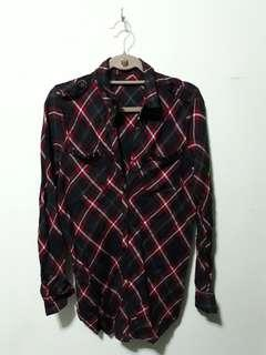 Long Plaid Flannel Button Down