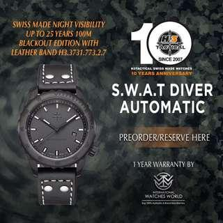 🚚 H3 TACTICAL WATCHES SWISS MADE S.W.A.T DIVER AUTOMATIC 100M  BLACKOUT EDITION BLACK PVD WITH LEATHER BAND H3.3732.773.2.7