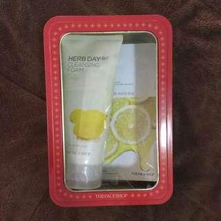The Face Shop Herb Day Cleansing Foam & Real Nature Masks