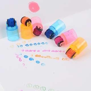 【WholeSale 10sets】6 Pcs/set combination pens shape stamps sets inkpad stamp school supplies