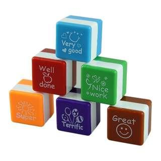 【WholeSale 10sets】6pcs Square Shaped Stamps Specified ABS Teachers Comments Cute Cartoon Stamp Set