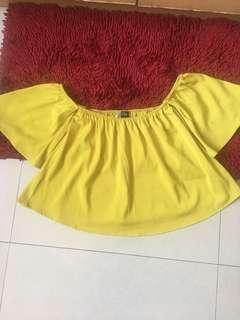 Zalora off-shoulder in lemon yellow