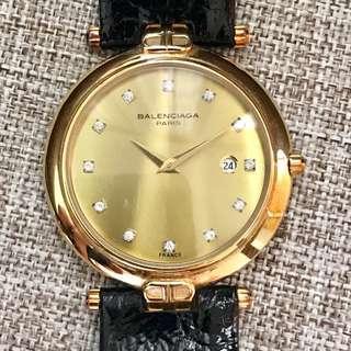 BALENCIAGA Paris TG88107428 France Made Original 18 K Gold Diamond Index Gold Dial Date Calendar Leather Strap