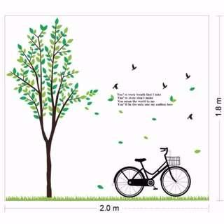 Tree & Bicycle Wall Decal Sticker Vinyl Home Decor