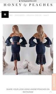 Briana dress navy honey peaches / two sisters boutique