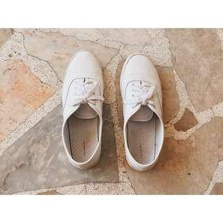 City Sneaks White Leather Lace-Up Shoes