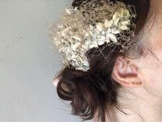 Bridal hair piece - French lace and diamontes