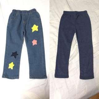 🚚 兒童刷毛發熱褲 內搭褲 牛仔褲 長褲 9號