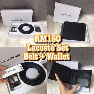 Lacoste wallet & Belt set