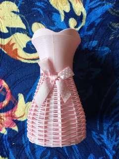 Vase plastik comel with ribbon