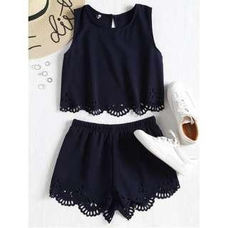 Co-ord Sleeveless Lazer Cut Top and Shorts (midnight blue)