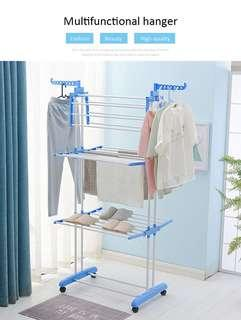 Standing floor type Dual pole Upgrade extendable indoor clothes hanger / laundry rack / clothes drying rack / Garment Hanger-intl