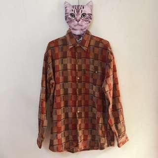 🚚 🎈古著🎈 復古拼色 撞色格紋襯衫 前短後長襯衫