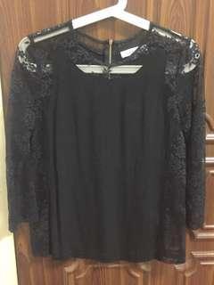 sandro lace insert blouse FR1